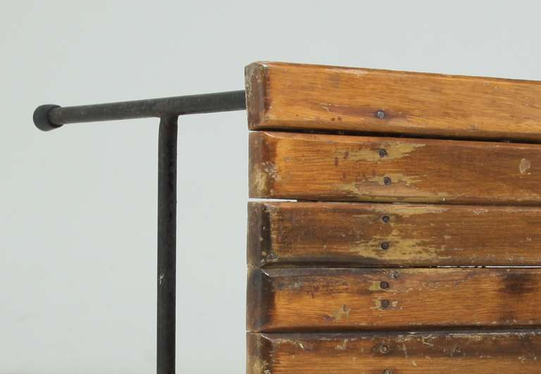 Long umanoff bench with beautiful wooden top at 1stdibs for Beautiful wooden benches