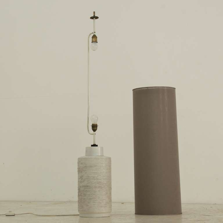 Off-white Ceramic Floor Lamp With Large Cylindric Shade ...