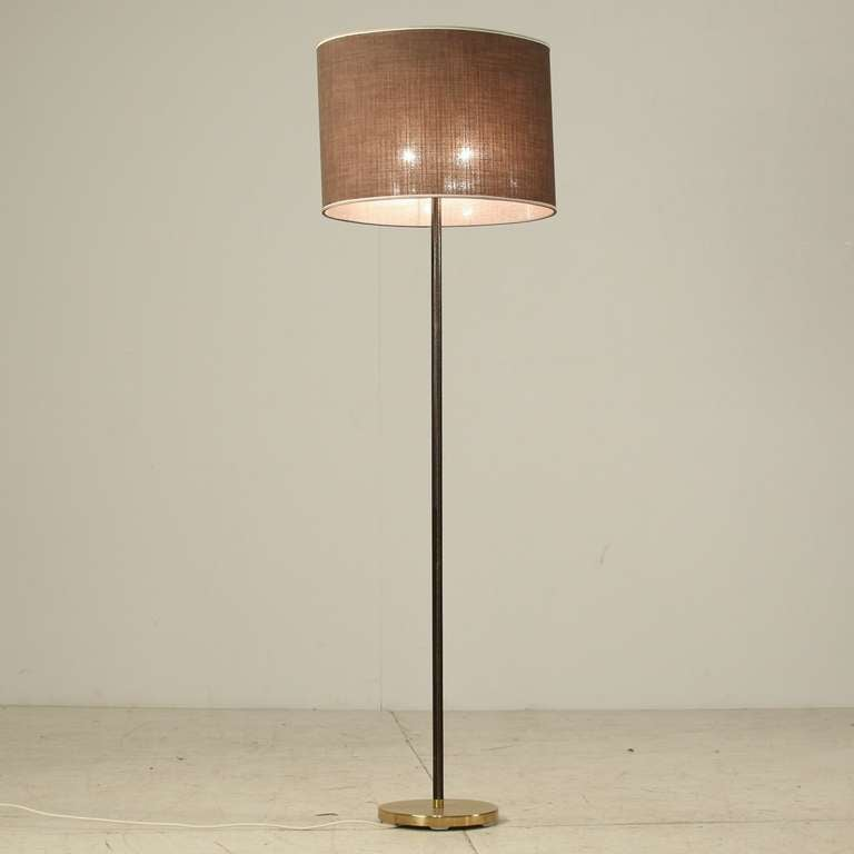 Pair Of Kalmar Floor Lamps, With Leather Around The Stem And A Heavy Metal  Base
