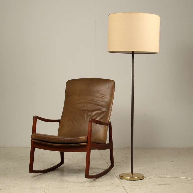 Pair Kalmar Floor Lamps With Leather Covered Stem And