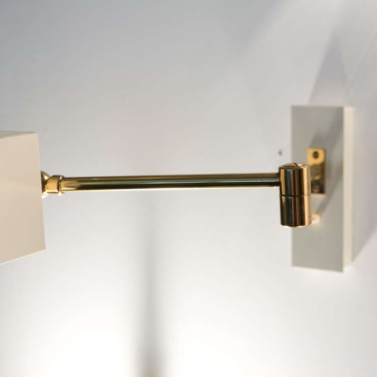 Brass Wall Lamps Bedroom : Pair Minimal Bedroom Wall Lamps In Brass And Metal at 1stdibs