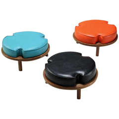 Set of Three Stackable Stools with Red, Black and Turquoise Cushions