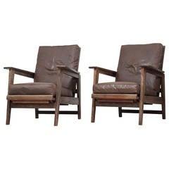 Pair of Reclining Armchairs with Dark Brown Vinyl Seats
