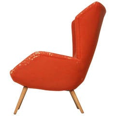 Red 1950s Wingback Lounge Chair