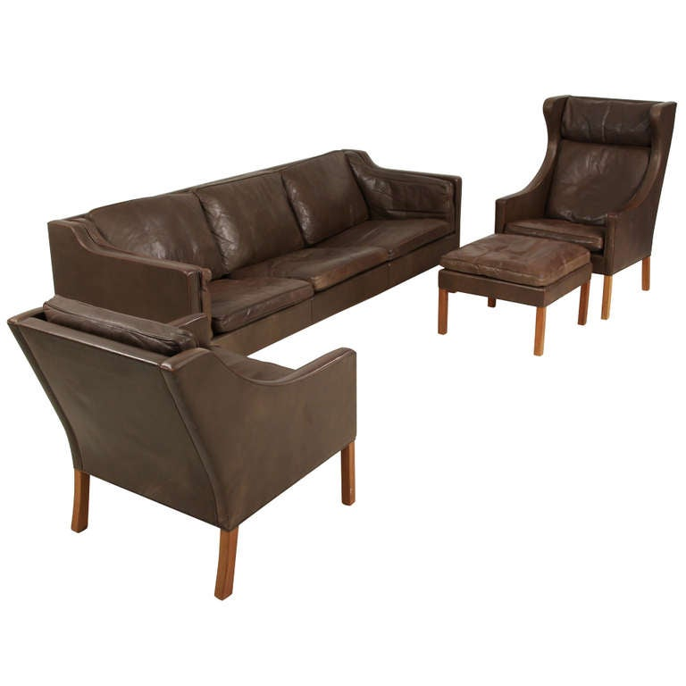 Borge Mogensen Brown Leather Sofa Wingback with Ottoman