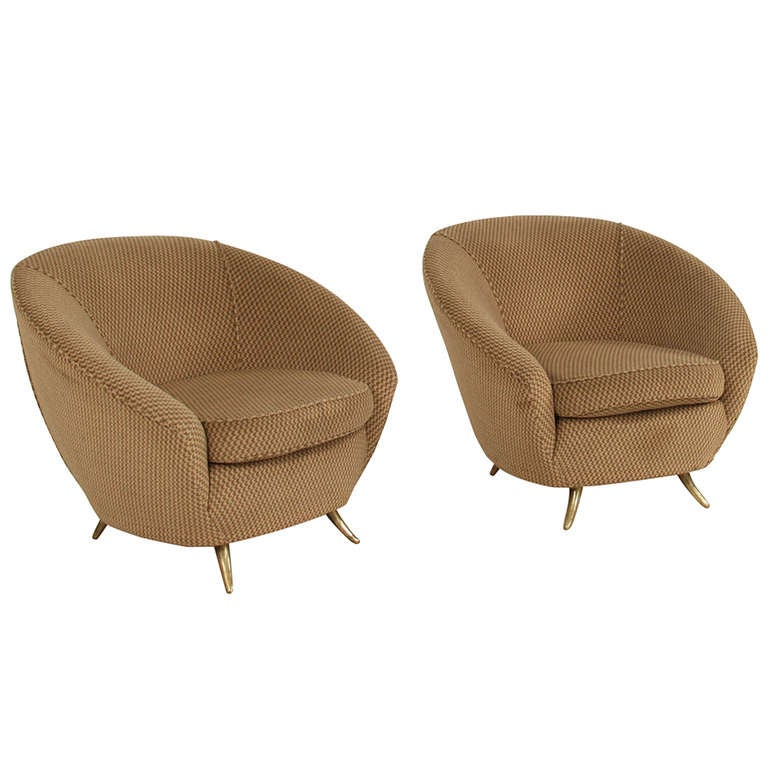 Pair Curved Ico Parisi Clubchairs At 1stdibs