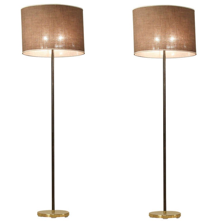 Bamboo Oval Table Lamp: Pair Kalmar Floor Lamps With Oval Shade And Leather