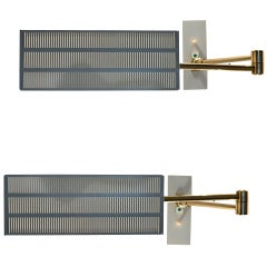 Pair Minimal   Bedroom Wall Lamps In Brass And Metal