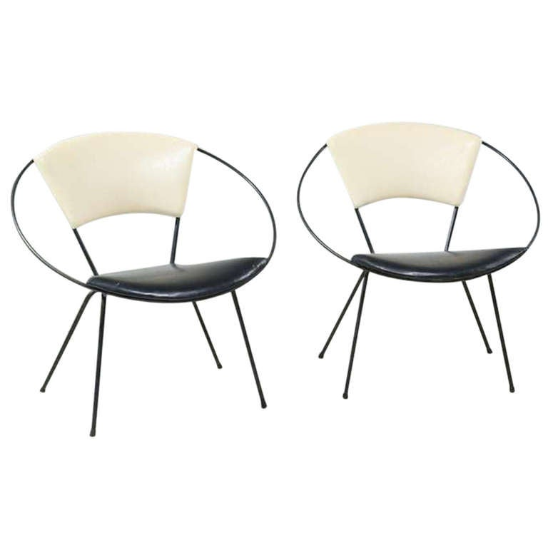 Pair of Black and White Circle Chairs for Reilly Wolff 1952 at 1stdibs