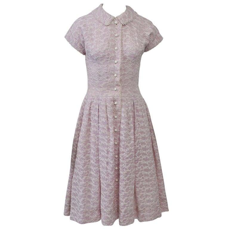 Embroidered Lavender 1950s Summer Dress