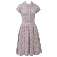 Embroidered Lavender 1950s Summer Dress