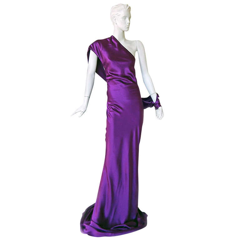Alexander McQueen Drop Shoulder Violet Grecian Gown For Sale