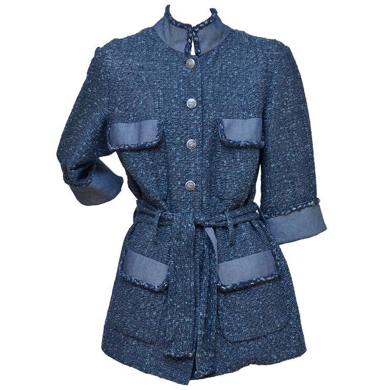 Chanel Tweed Jacket Blazer With Denim Trim 1