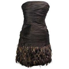 New Ralph Lauren Brown Silk Taffeta Feather Cocktail Dress