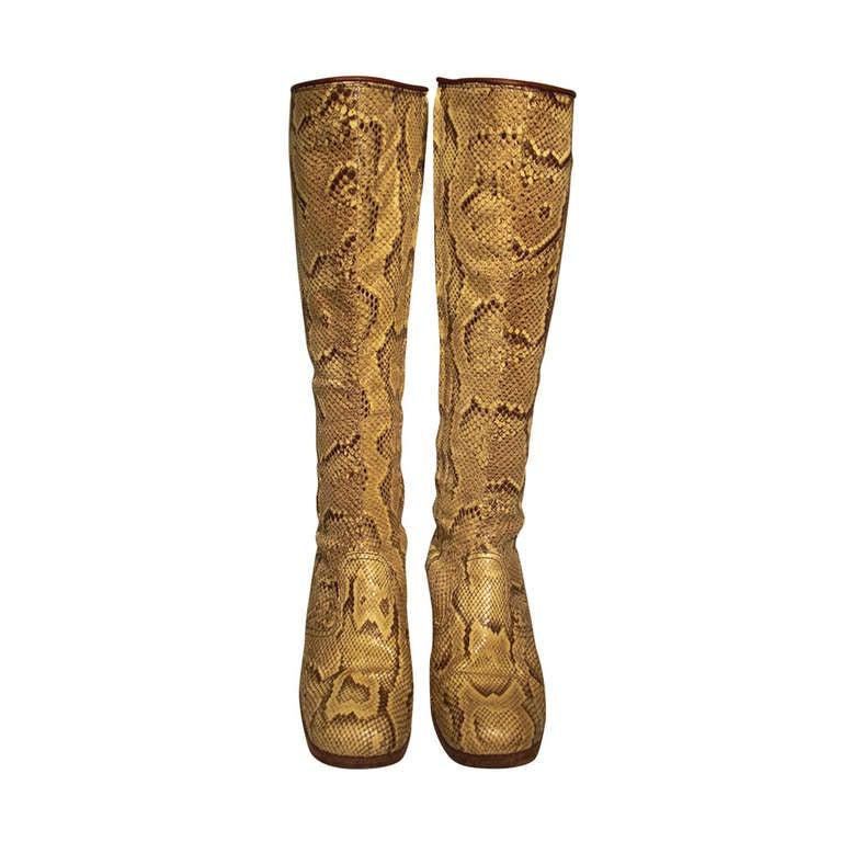 1960s Custom Made Snakeskin Rockstar Boots 1