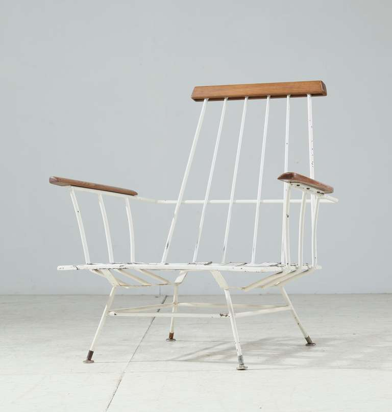 Mid 20th Century Rare Minimal Wrought Iron Lounge Chair For Sale
