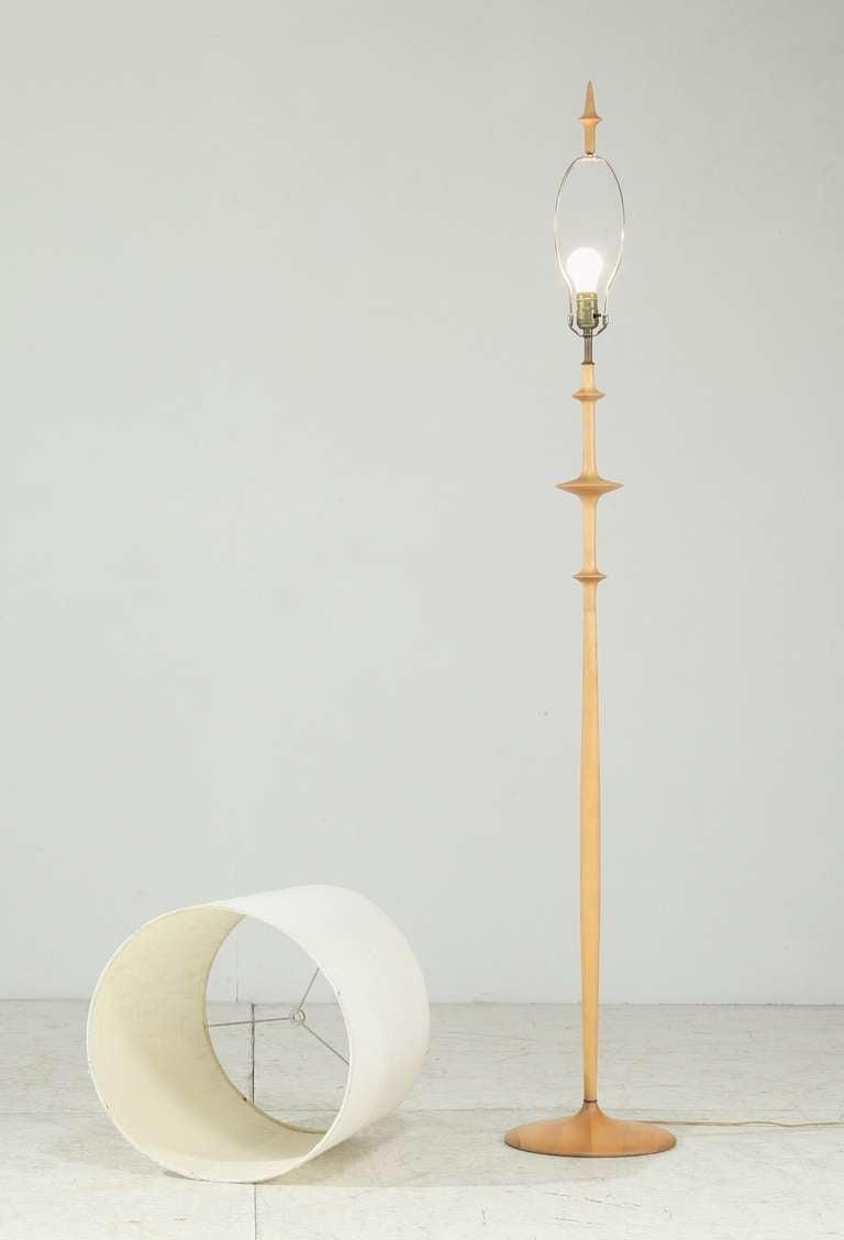 hand turned wooden floor lamp at 1stdibs. Black Bedroom Furniture Sets. Home Design Ideas