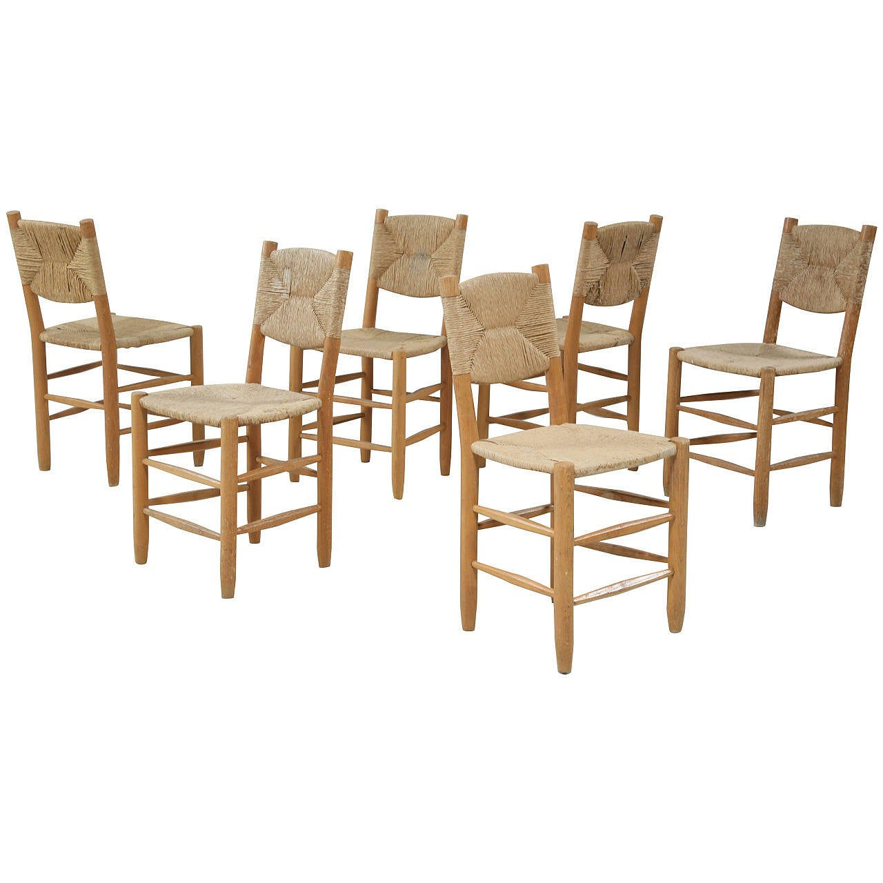 six charlotte perriand bauche chairs at 1stdibs
