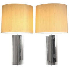 Pair XL 1960s table/console lamps with folded chrome base and fabric hood