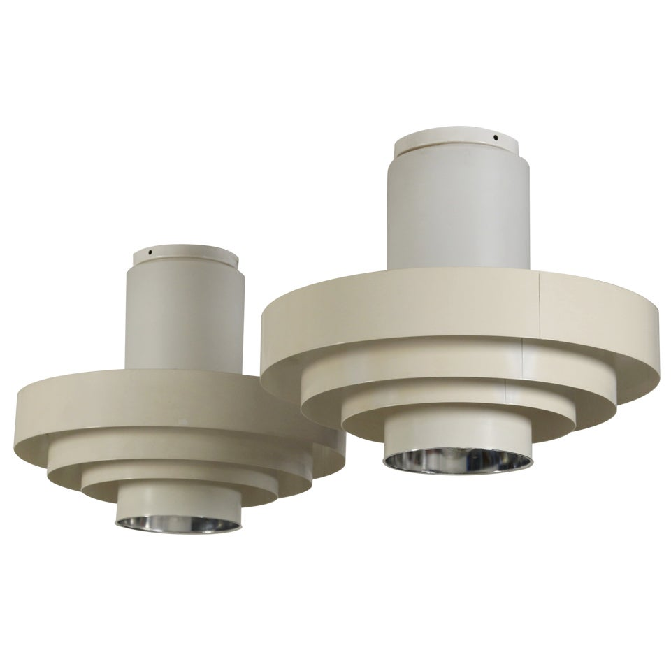 Pair of 1960s Off-White Ceiling Fixtures In Glass And Metal