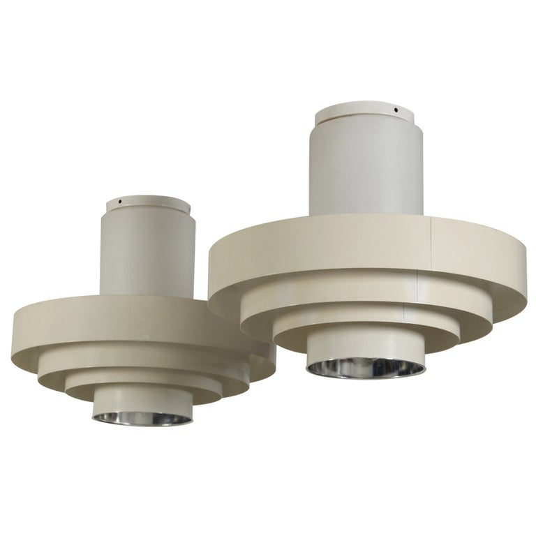 Pair of 1960s Off-White Ceiling Fixtures In Glass And Metal For Sale