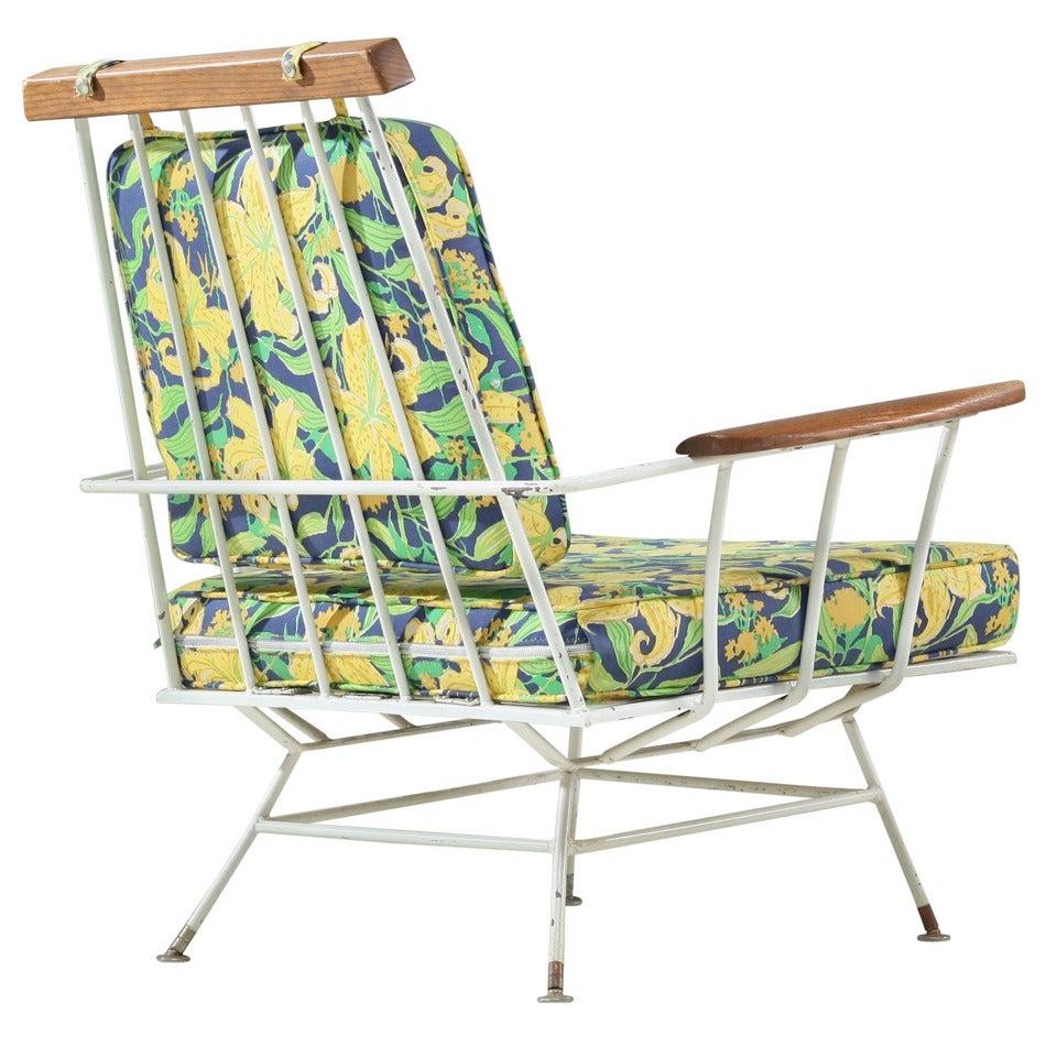 Rare Minimal Wrought Iron Lounge Chair