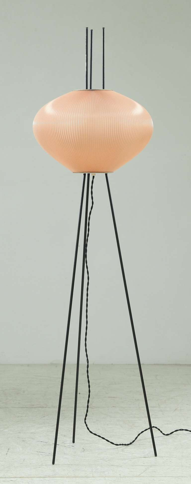 Beautiful minimalist rispal lamp with light pink shade for for Light pink floor lamp shade