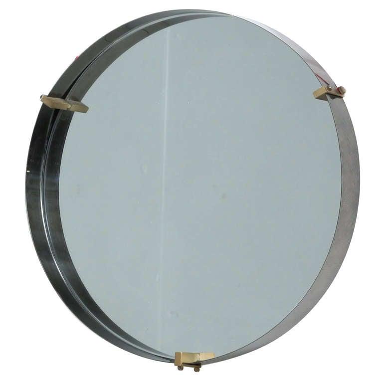 Round Brass Minimalist Mirror Italy 1950s At 1stdibs