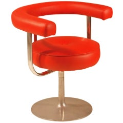Esko Pajamies metal and red leather desk chair for Lepo, Finland, 1960s