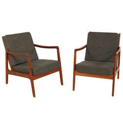 Pair 1950s Ole Wanscher Easy Chairs in Teak