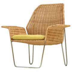 Dutch Design rattan armchair on a bent iron frame, 1960s