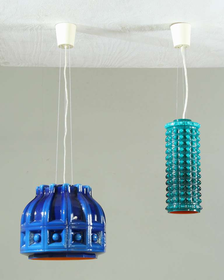 Swedish Sculptural Cylindric Double Layered Glass Pendant, Helena Tynell, Sweden, 1950s For Sale