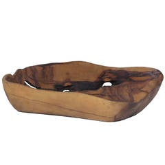 Tony Bain Olive Wood Bowl, Vallauris, France, 1960s