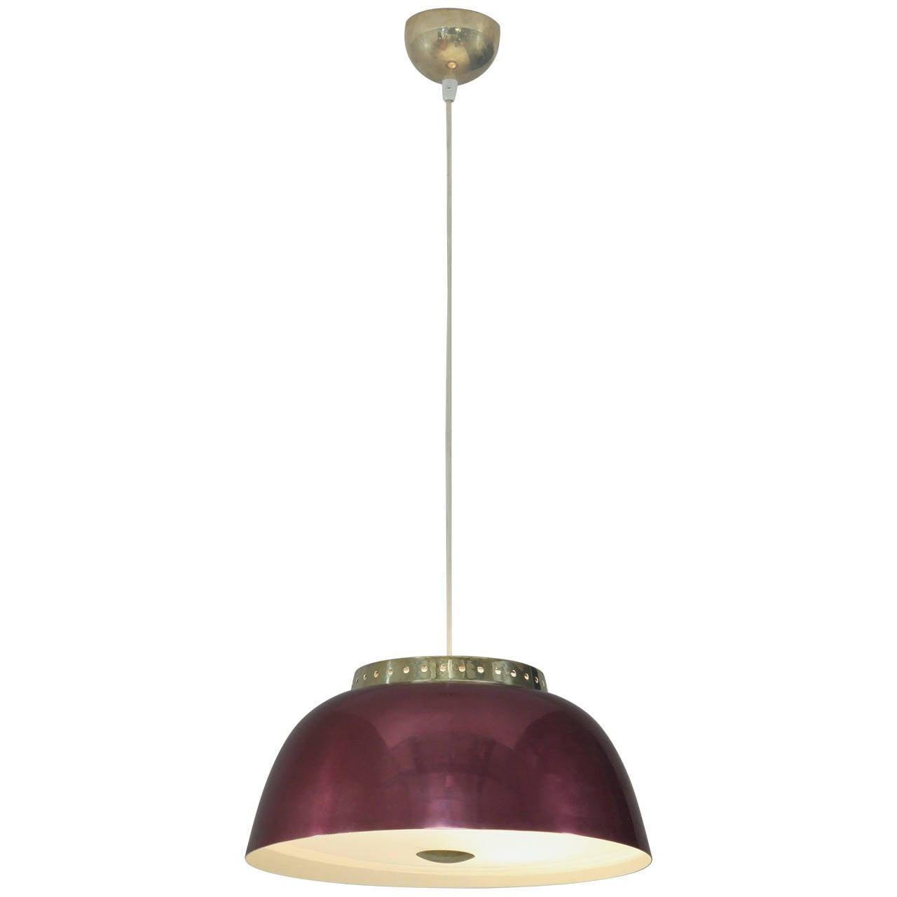 Lisa Johansson-Pape Burgundy Pendant Lamp, Orno, Finland, 1950s