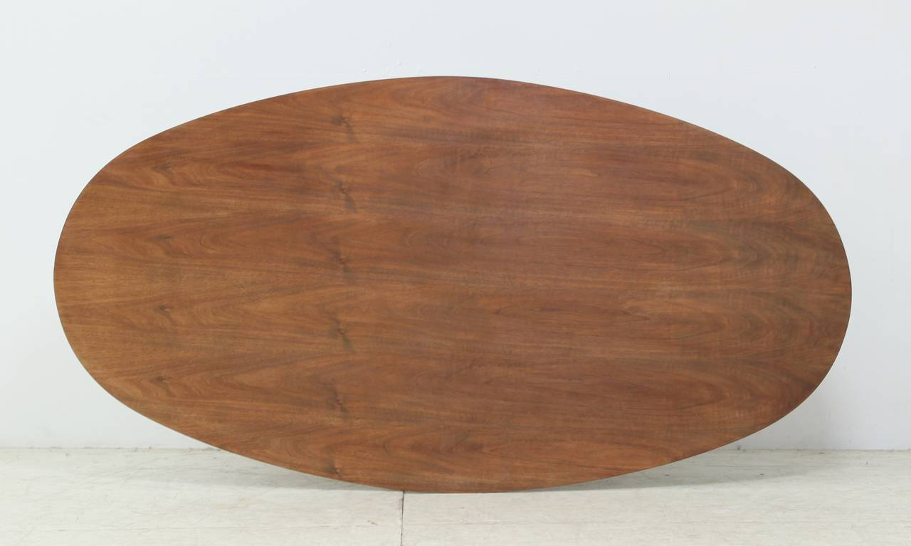 Mid-Century Modern Oval Italian Dining Table with Wooden Top For Sale