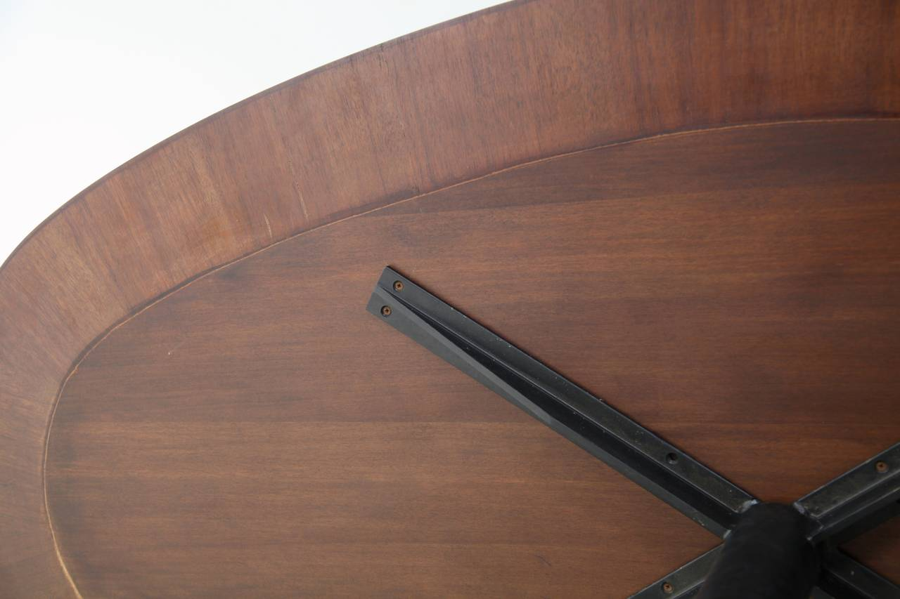 Mid-20th Century Oval Italian Dining Table with Wooden Top For Sale