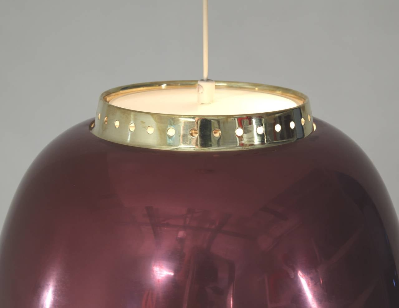 Lisa Johansson-Pape Burgundy Pendant Lamp, Orno, Finland, 1950s In Excellent Condition In Maastricht, NL