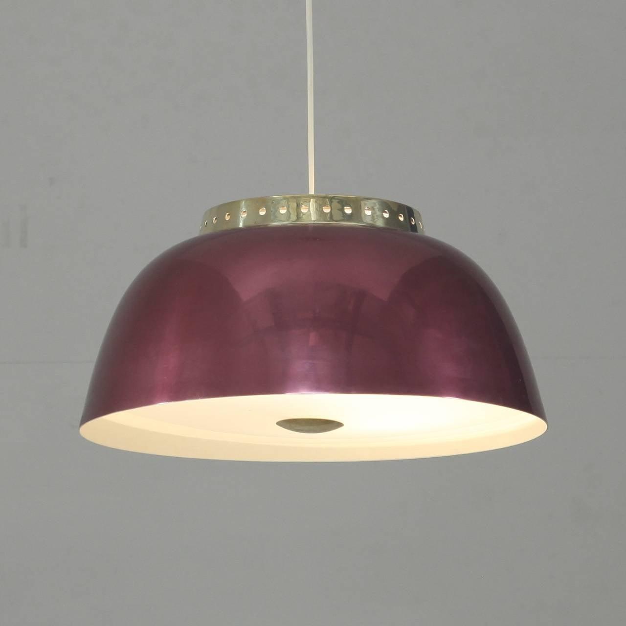Scandinavian Modern Lisa Johansson-Pape Burgundy Pendant Lamp, Orno, Finland, 1950s