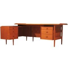 Arne Vodder large teak desk by for Sibast, Denmark, 1950s