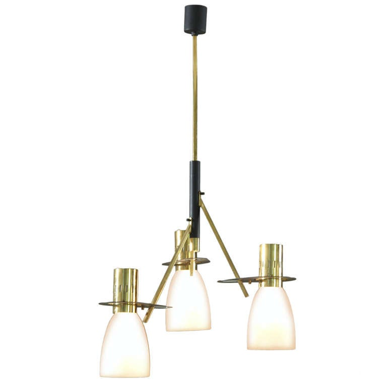 Reversable Stilnovo Three Armed Chandelier with Matching Sconces at 1stdibs