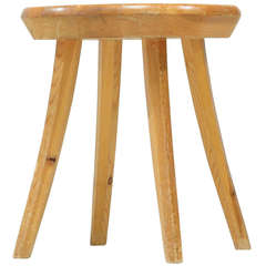 Handcrafted Stool in Pine, Finland, 1940s