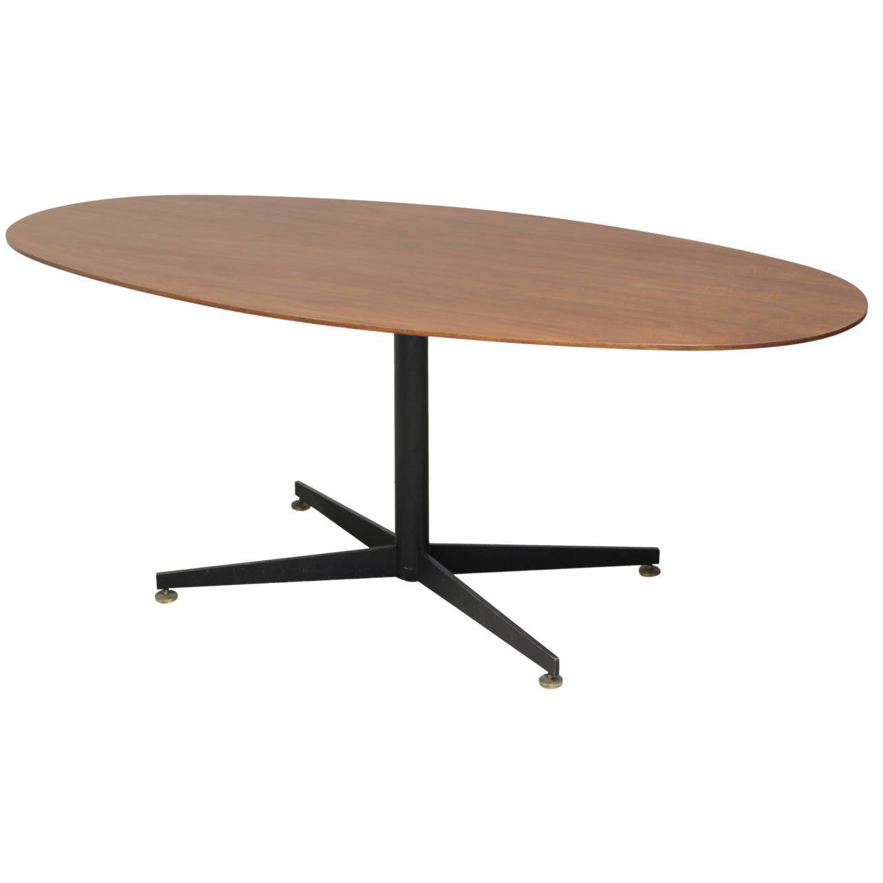 Oval Italian Dining Table with Wooden Top For Sale
