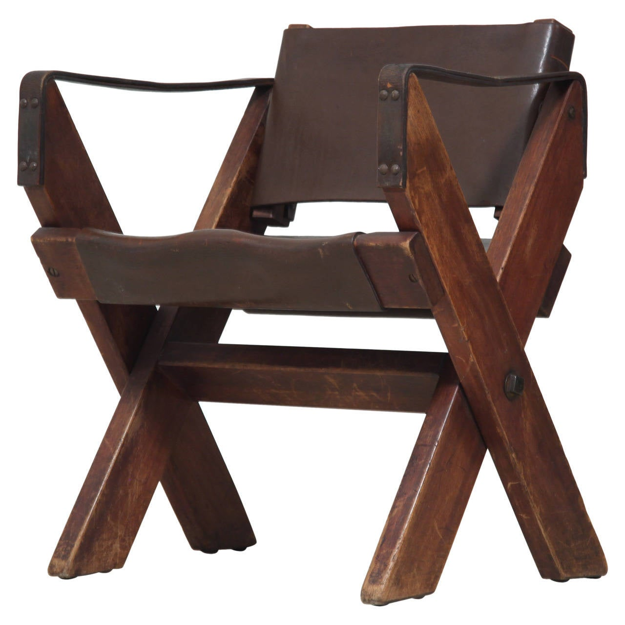 Folding Fauteuil In Oak And Dark Brown Leather 1