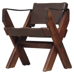 Folding Fauteuil in Oak and Dark Brown Leather