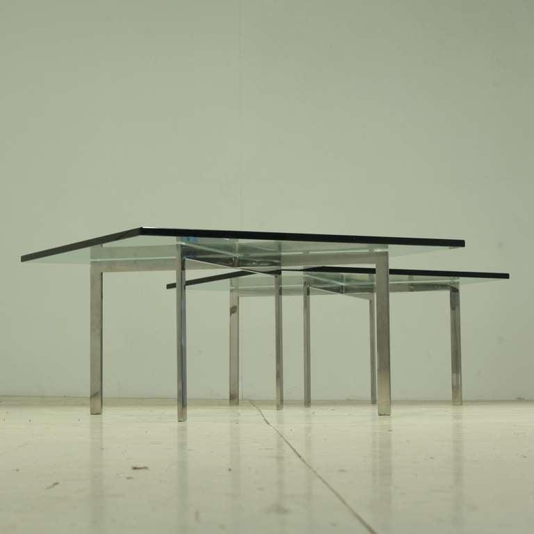 pair kp branded barcelona side tables by ludwig mies van. Black Bedroom Furniture Sets. Home Design Ideas