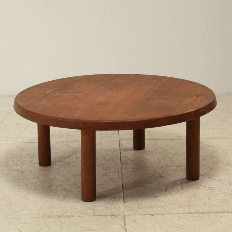 charlotte perriand round low table in oak at 1stdibs. Black Bedroom Furniture Sets. Home Design Ideas
