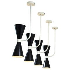 Set of Six Italian Metal Diabolo Wall or Pendant Lamps in Stilnovo Manner, 1950s