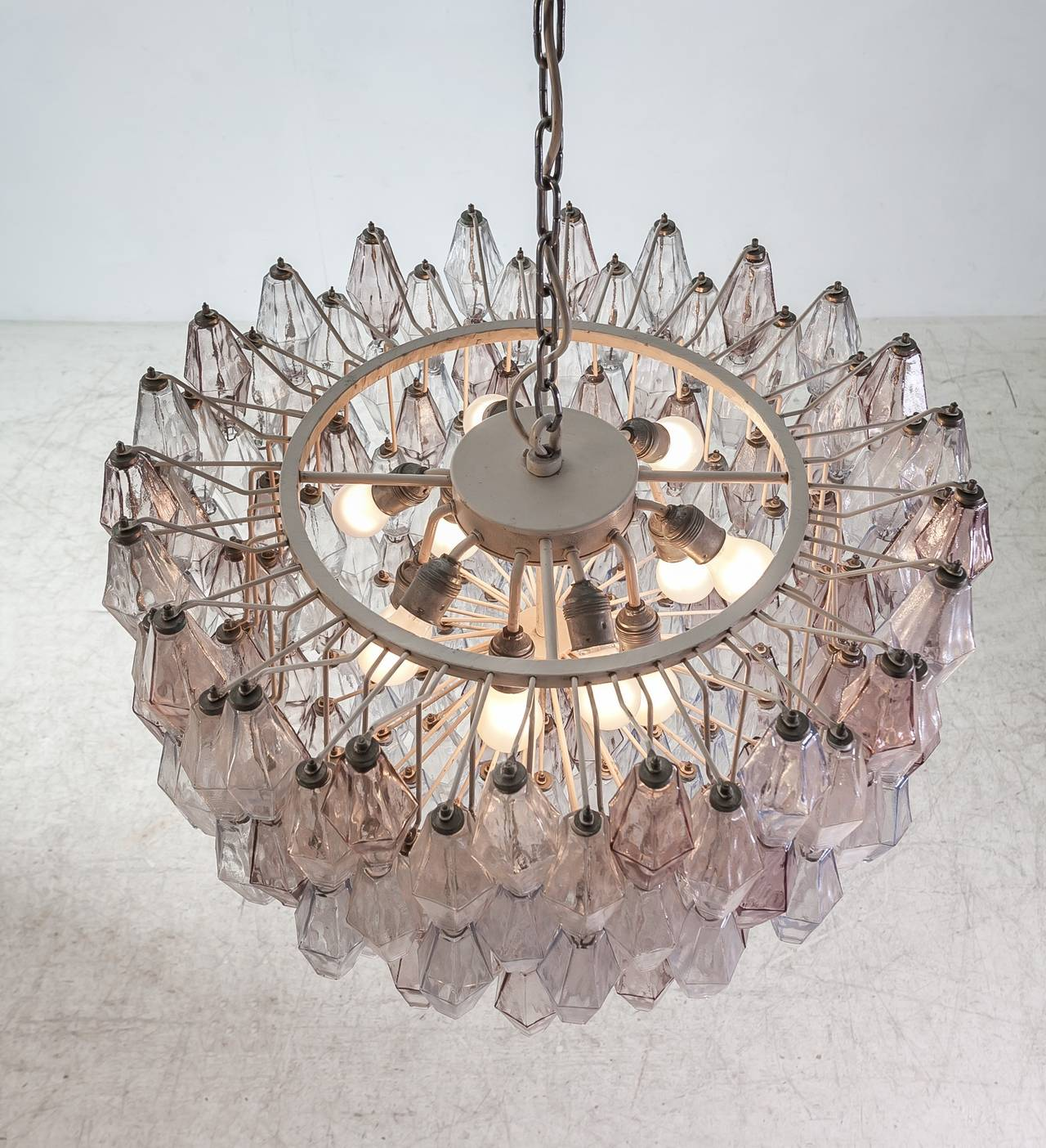 Pair of Carlo Scarpa Extra Large 245 Murano Glass Pieces 'Poliedri' Chandeliers For Sale 2