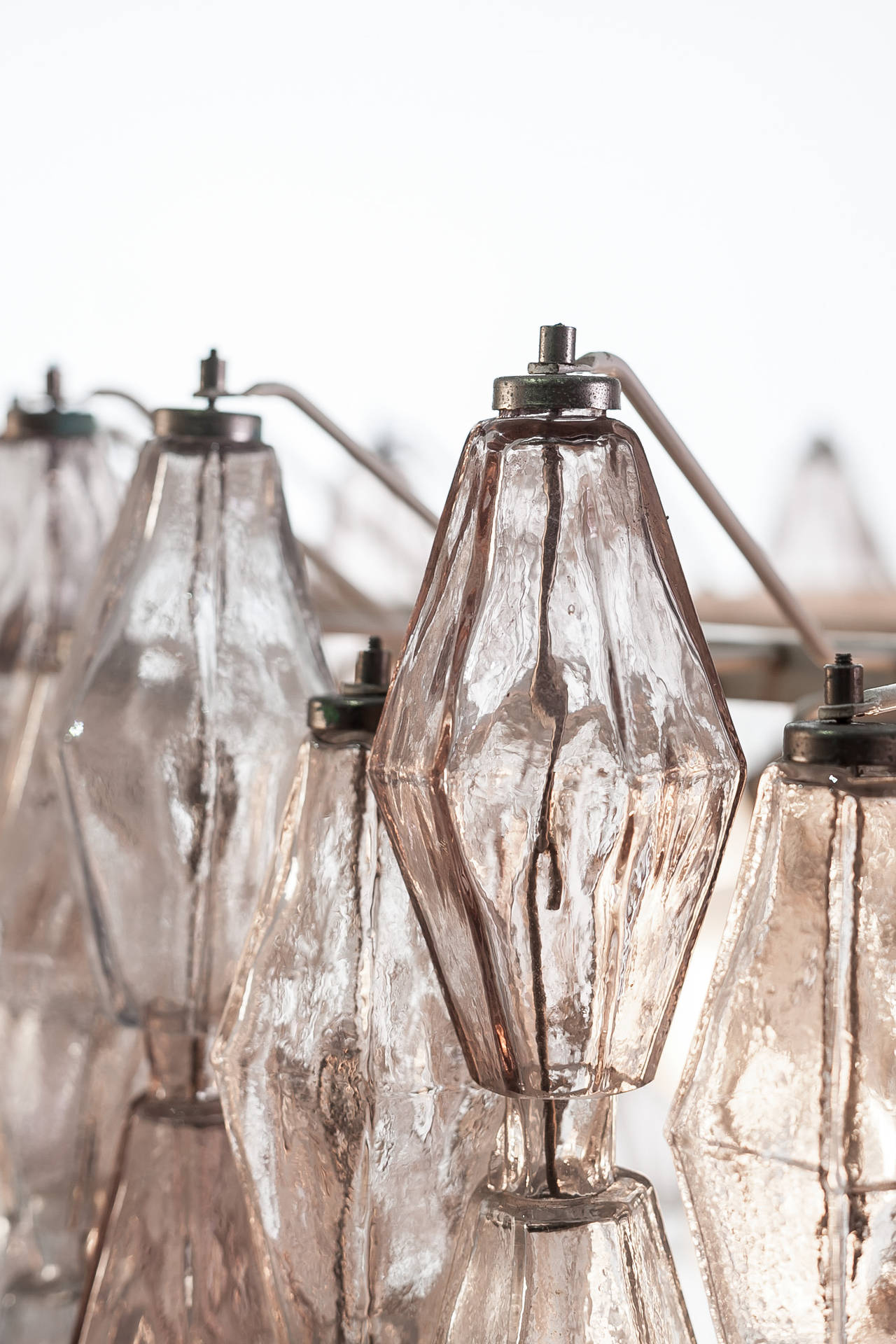 Italian Pair of Carlo Scarpa Extra Large 245 Murano Glass Pieces 'Poliedri' Chandeliers For Sale