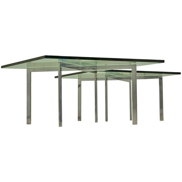 Pair kp branded barcelona side tables by ludwig mies van der rohe for knoll f - Barcelona table knoll ...